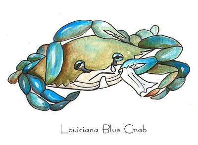 Louisiana Blue Crab Print by Elaine Hodges
