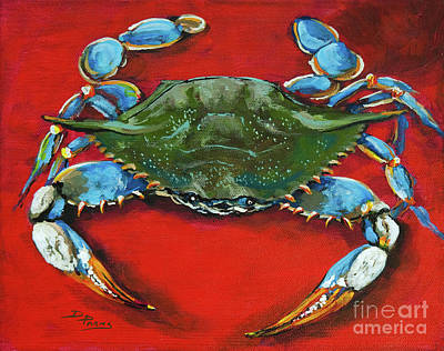 Seafood Painting - Louisiana Blue On Red by Dianne Parks
