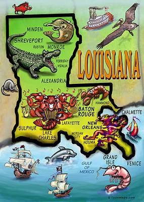 Louisiana Cartoon Map Art Print by Kevin Middleton