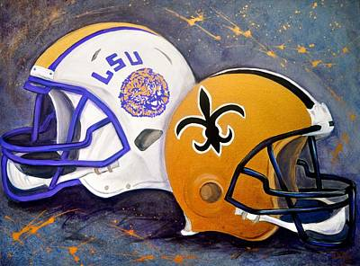 Sports Paintings - Louisiana Fan by Debi Starr