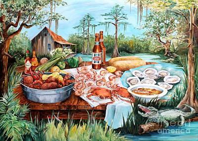 Beer Paintings - Louisiana Feast by Diane Millsap