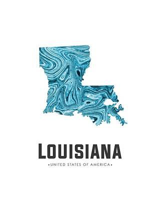 Mixed Media - Louisiana Map Art Abstract In Blue by Studio Grafiikka