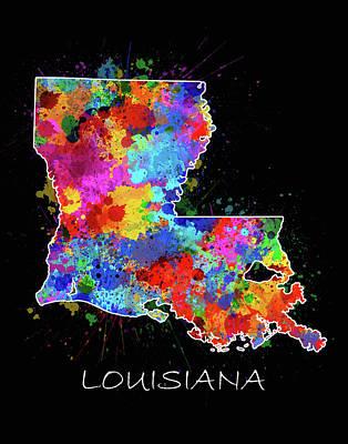 Louisiana Map Color Splatter 2 Art Print