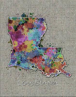 Watercolor Map Digital Art - Louisiana Map Color Splatter 5 by Bekim Art