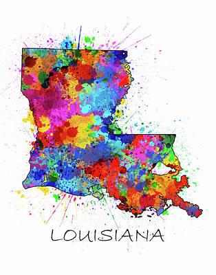 Louisiana Map Color Splatter Art Print