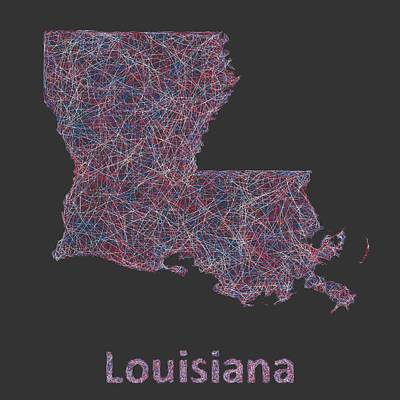 Louisiana Digital Art - Louisiana Map by David Zydd
