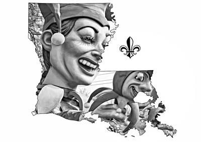 Jester Digital Art - Louisiana Map - Mardi Gras Jester Bw by Steve Harrington