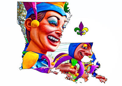 Jester Digital Art - Louisiana Map - Mardi Gras Jester by Steve Harrington