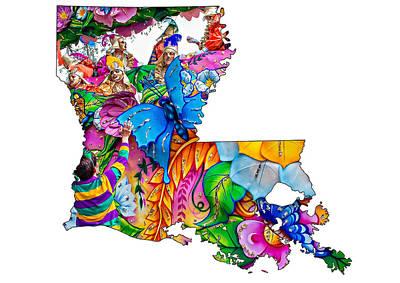 Flower Map Digital Art - Louisiana Map - Mardi Gras by Steve Harrington