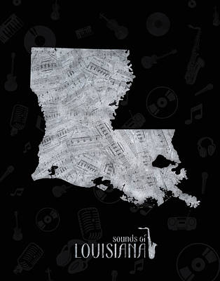 Rock And Roll Royalty-Free and Rights-Managed Images - Louisiana Map Music Notes 2 by Bekim Art