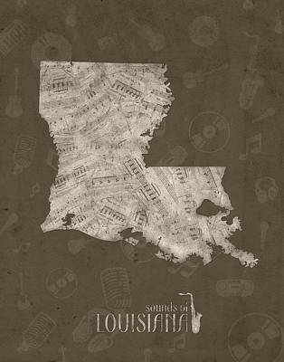 Rock And Roll Royalty-Free and Rights-Managed Images - Louisiana Map Music Notes 3 by Bekim Art