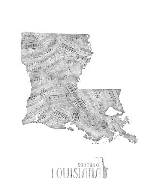 Rock And Roll Royalty-Free and Rights-Managed Images - Louisiana Map Music Notes by Bekim Art
