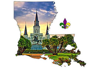 Jazz Digital Art - Louisiana Map - St Louis Cathedral by Steve Harrington