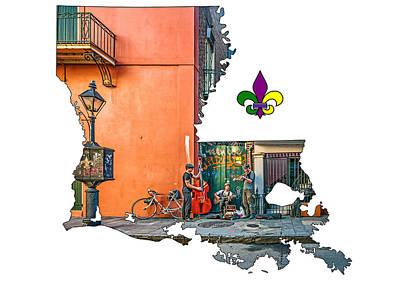 Fleur De Lis Photograph - Louisiana Map - The French Quarter by Steve Harrington