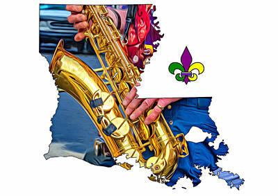 Street Musicians Digital Art - Louisiana Map - The Sax Man by Steve Harrington