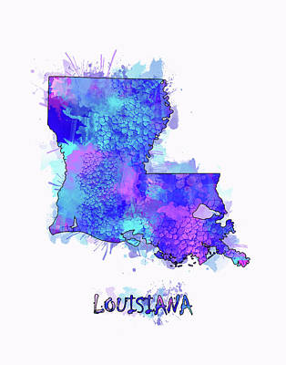 Louisiana Map Watercolor 2 Art Print
