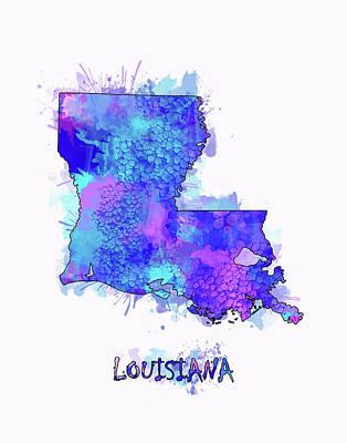 Mississippi State Map Digital Art - Louisiana Map Watercolor 2 by Bekim Art