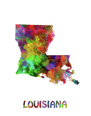 Mississippi State Map Digital Art - Louisiana Map Watercolor by Bekim Art