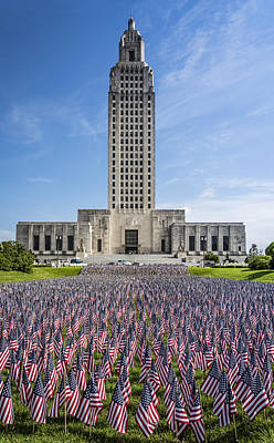 Historical Photograph - Louisiana Memorial Day Flags by Andy Crawford