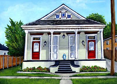 New Orleans Shotgun Houses Painting - Louisiana Shotgun Double by Elaine Hodges