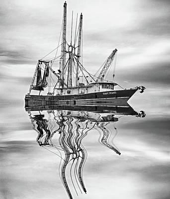 Louisiana Shrimp Boat 4 Bw Art Print