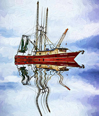Louisiana Shrimp Boat 4 - Impasto Art Print by Steve Harrington