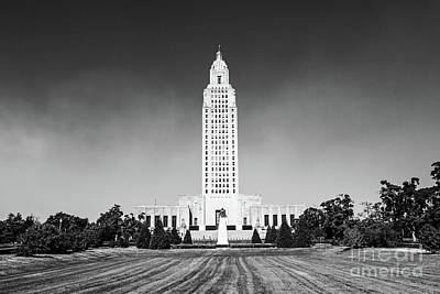 Photograph - Louisiana State Capitol - Bw by Scott Pellegrin