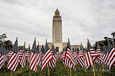 Louisiana State Capitol Dressed For Memorial Day Art Print
