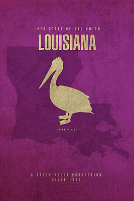 Pelican Mixed Media - Louisiana State Facts Minimalist Movie Poster Art by Design Turnpike