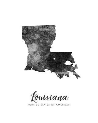 Louisiana Mixed Media - Louisiana State Map Art - Grunge Silhouette by Studio Grafiikka
