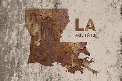 Louisiana Mixed Media - Louisiana State Map Industrial Rusted Metal On Cement Wall With Founding Date Series 017 by Design Turnpike