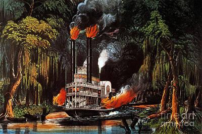 Louisiana: Steamboat, 1865 Art Print by Granger