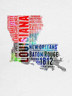 Louisiana Digital Art - Louisiana Watercolor Word Cloud Map  by Naxart Studio