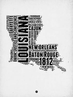 Louisiana Digital Art - Louisiana Word Cloud Map 2 by Naxart Studio