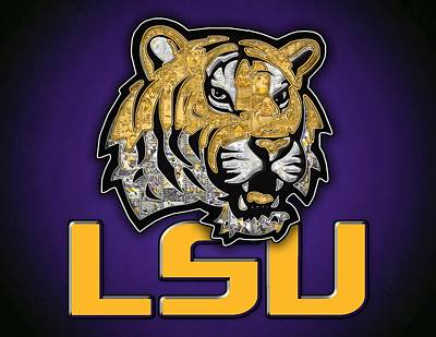 Louisiana State University Digital Art - Louisiana State University Tigers Football by Fairchild Art Studio