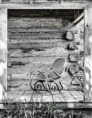 Photograph - Louisianna Plantation Porch Rocker Black And White by Betty Denise