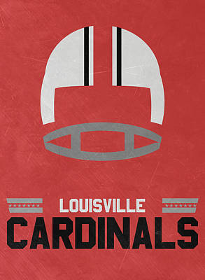 Football Mixed Media - Louisville Cardinals Vintage Football Art by Joe Hamilton