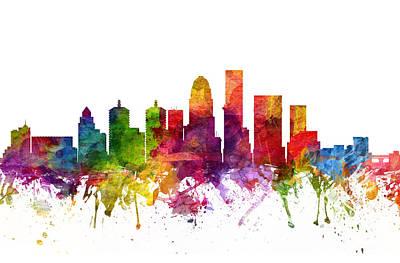 Kentucky Digital Art - Louisville Cityscape 06 by Aged Pixel