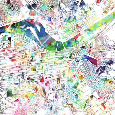 Digital Art - Louisville Kentucky City Map 3 by Bekim Art
