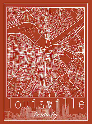 Digital Art - Louisville Kentucky City Map 5 by Bekim Art