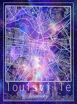 Digital Art - Louisville Kentucky City Map 8 by Bekim Art