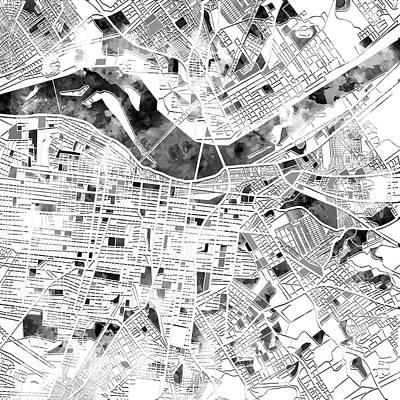 Digital Art - Louisville Kentucky City Map by Bekim Art