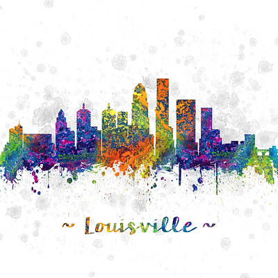 Kentucky Drawing - Louisville Kentucky Color 03sq by Aged Pixel