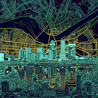 Abstract Skyline Royalty-Free and Rights-Managed Images - Louisville Kentucky Skyline Abstract 10 by Bekim Art