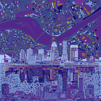 Royalty-Free and Rights-Managed Images - Louisville Kentucky Skyline Abstract 12 by Bekim M