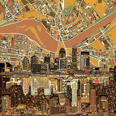 Louisville Kentucky Skyline Abstract 2 Art Print