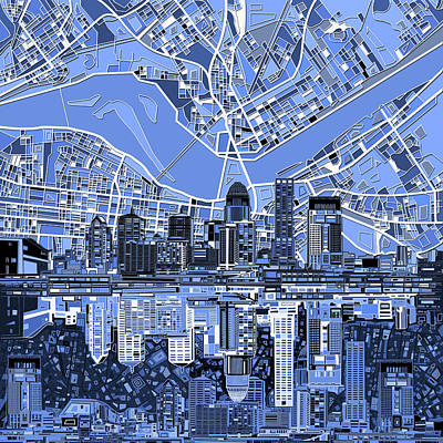 Abstract Skyline Royalty-Free and Rights-Managed Images - Louisville Kentucky Skyline Abstract 4 by Bekim Art