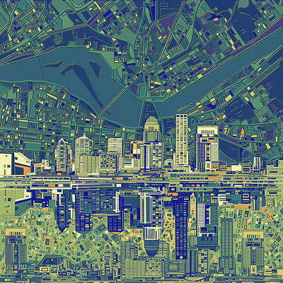Abstract Skyline Royalty-Free and Rights-Managed Images - Louisville Kentucky Skyline Abstract 6 by Bekim Art