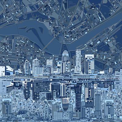 Digital Art - Louisville Kentucky Skyline Abstract 7 by Bekim Art