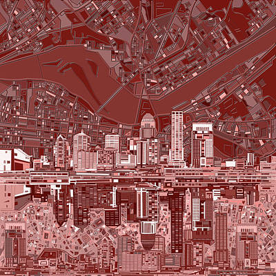 Abstract Skyline Royalty-Free and Rights-Managed Images - Louisville Kentucky Skyline Abstract 8 by Bekim Art